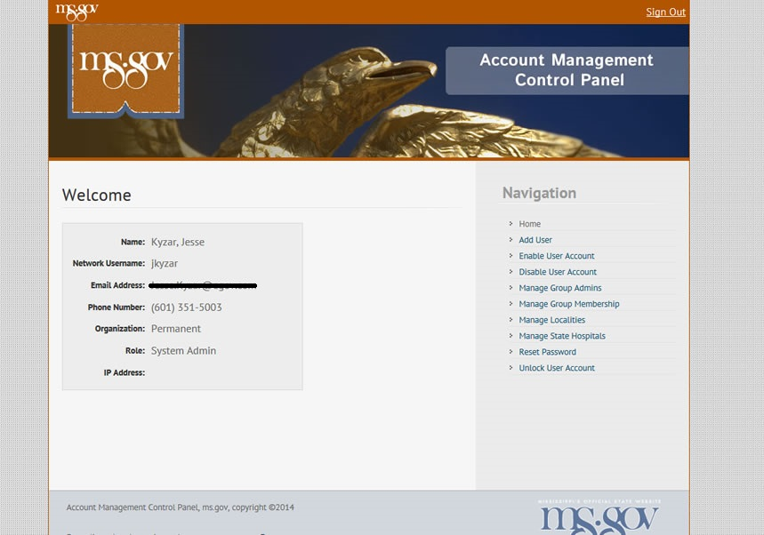 Account Management Control Panel